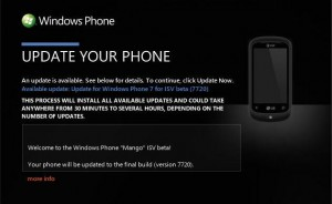 Windows Phone 7.5 Build 7720 Update