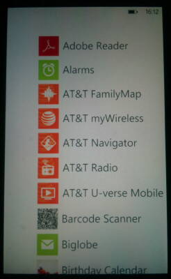 Windows Phone 7 Application List